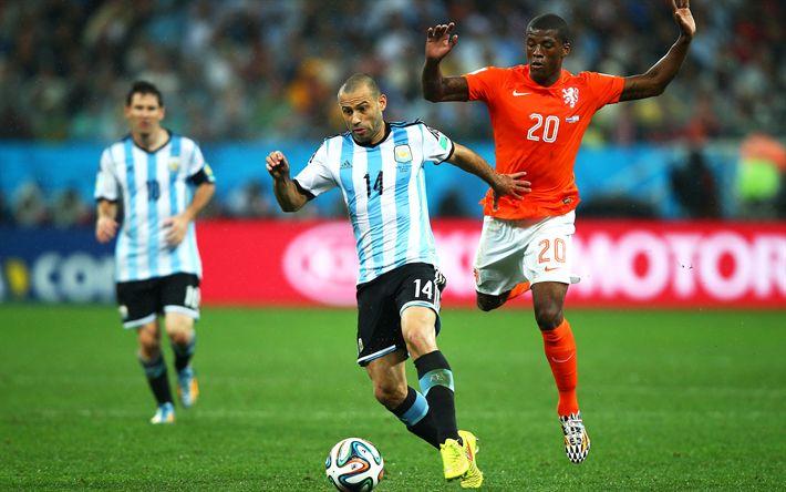 Download wallpapers Javier Mascherano, 4k, Argentinean National Team, footballers, Mascherano, match, soccer
