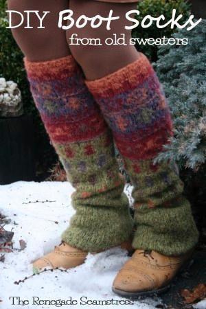- DIY Sweater Boot Socks