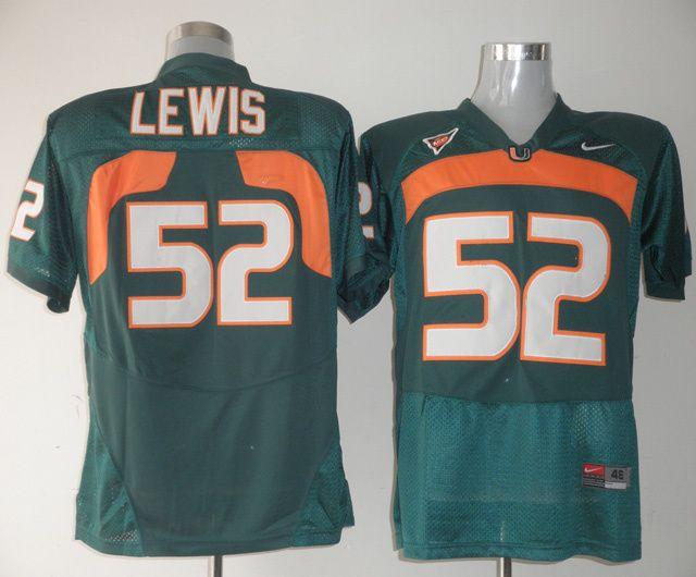 Men's NCAA Miami Hurricanes #52 Ray Lewis Green Jersey