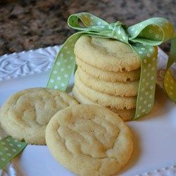 Cracked Sugar Cookies I - Allrecipes.com.   Just like pillsbury cookies!  If you don't have Cream of Tarter use 1tsp baking powder & 3/4 tsp  baking soda as a replacement. :)