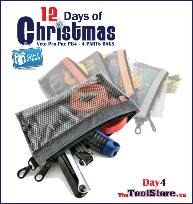 #12DaysofChristmas from @onlinetoolstore - DAY4 - Veto Pro Pac pouches are made of nylon fabric to withstand any wear and tear your tools can muster. The PB4 comes in a 4-Pack to keep everything you need to stay organized.
