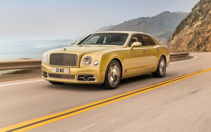 Bentley Mulsanne, 2017, luxury cars, gold Bentley, golden Mulsanne