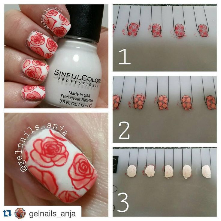 """""""Just love this step by step look at how  @gelnails_anja used the #Ubermat to make her reverse stamps! Great job lovely!  ・・・ Pictorial with my new…"""""""