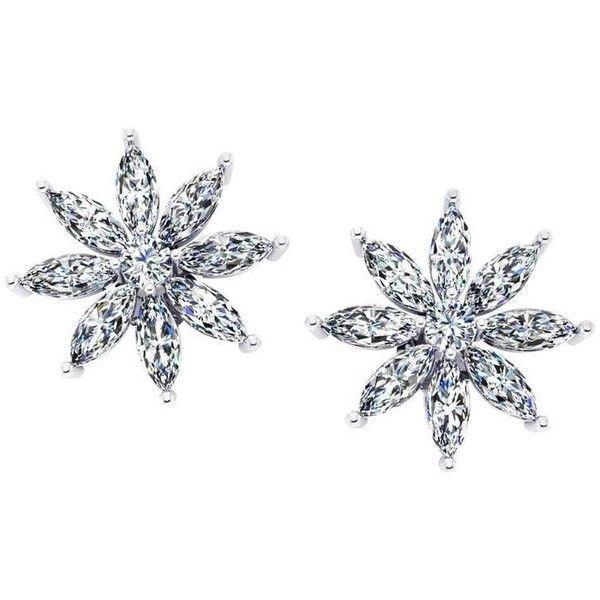 Ferrucci 2.00 Carat Marquise Stars Diamond Platinum Earrings ($4,400) ❤ liked on Polyvore featuring jewelry, earrings, multiple, stud earrings, diamond earrings, holiday jewelry, sparkly earrings, diamond jewelry and platinum earrings