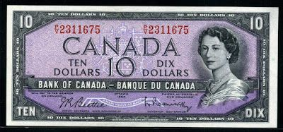 Canada banknotes 10 Canadian dollars banknote of 1954, Queen Elizabeth II.