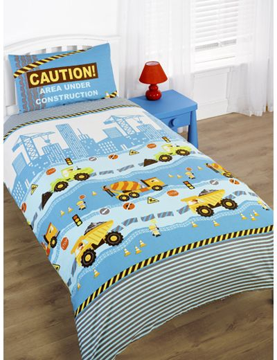 Construction Printed Duvet Set Single - As the name suggests this bedding range aimed at little boys features a construction site in bright yellows and greens on a stunning bright blue background. The scene features diggers and tractors and traffic cones, all the things you would imagine on a construction site.