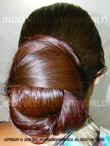 Long Hair Model of the Month December 2012. Sangita with  her long, healthy & thick knee length hair in very huge bun