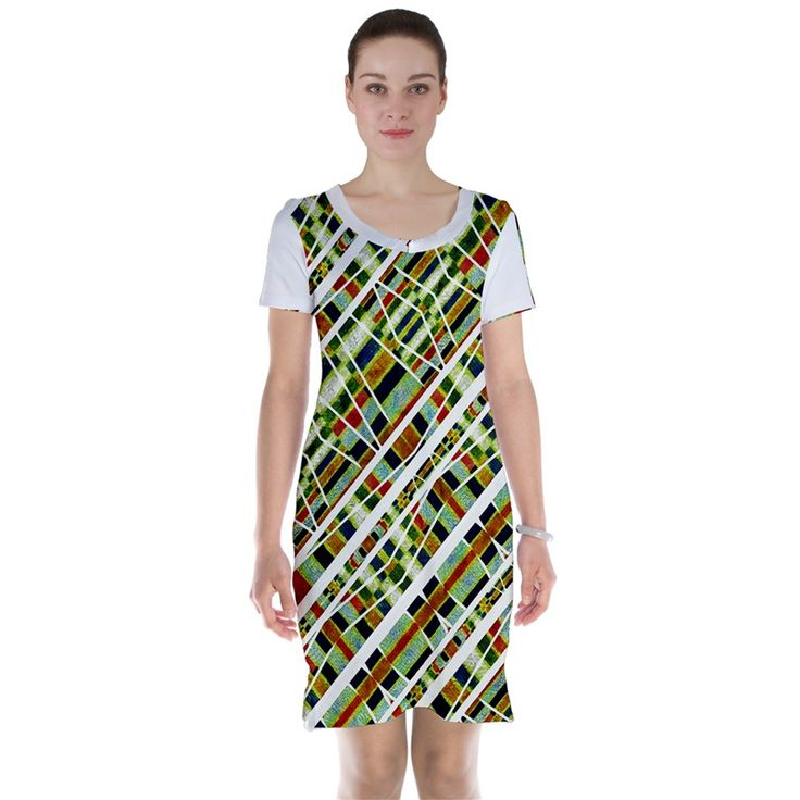 Ethnic Stripes Print Short Sleeve Nightdress by #dflcprints