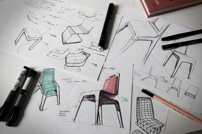 croquis design - Projet étudiant : Chaise Flexy par Léo Marzolf ISD Valenciennes #id #industrial #design #product #sketch