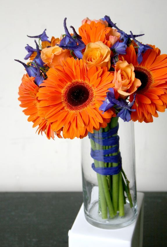 Simple Small Wedding Bouquets Design Blue And Orange Flowers Bouquet Using Gerbera Daisies And Delphinium
