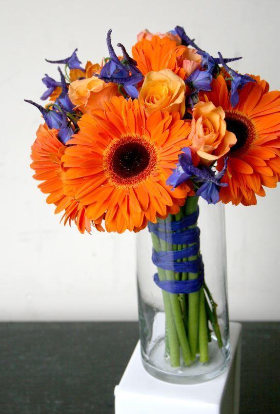 Simple Small Wedding Bouquets Design Blue And Orange Flowers Bouquet Using Gerbera Daisies Delphinium