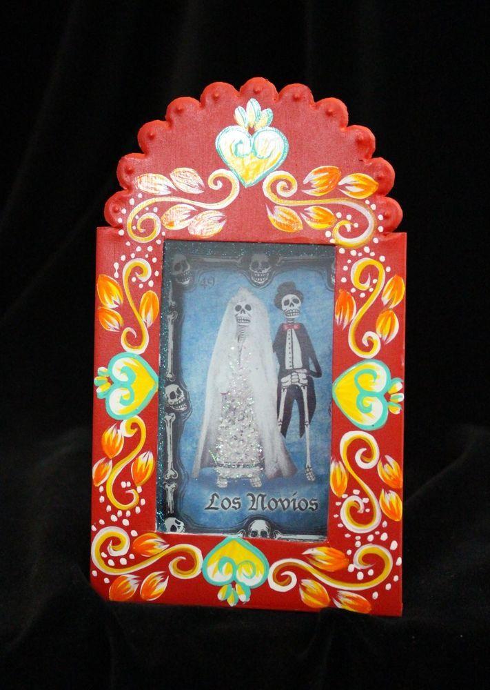 Hand Made Reliquary, Dias de los Muertos Wedding, Nicho Niche Mexican Folk Art