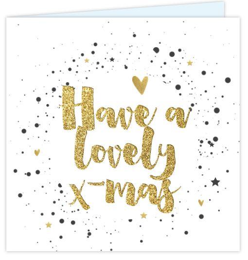 Kerstkaart met stoere handlettering in goud look. Met een cirkel van verf spetters en goed gekleurde hartjes en sterren erin! Zelf aan te passen!