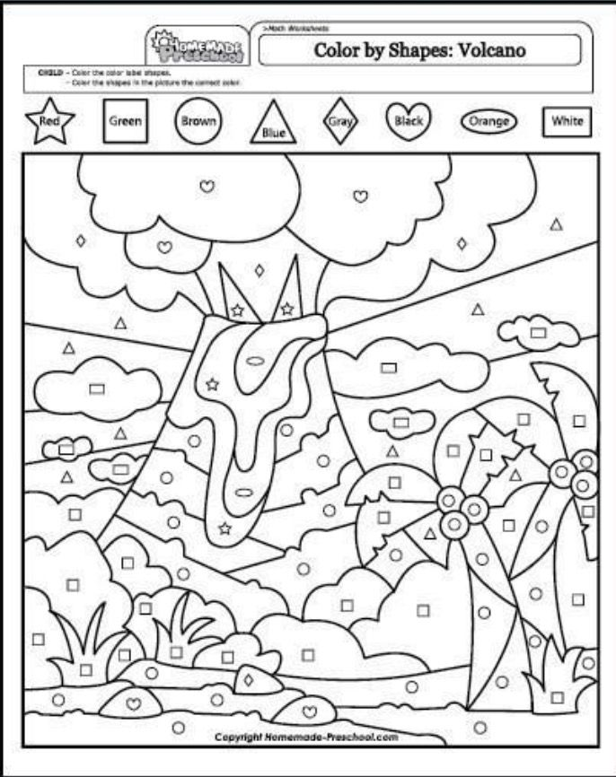 Color the shapes worksheet pages