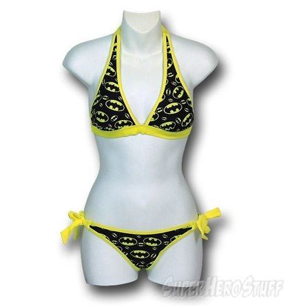 Batman Halter Top Repeated Logo Bikini - Small 5im9B