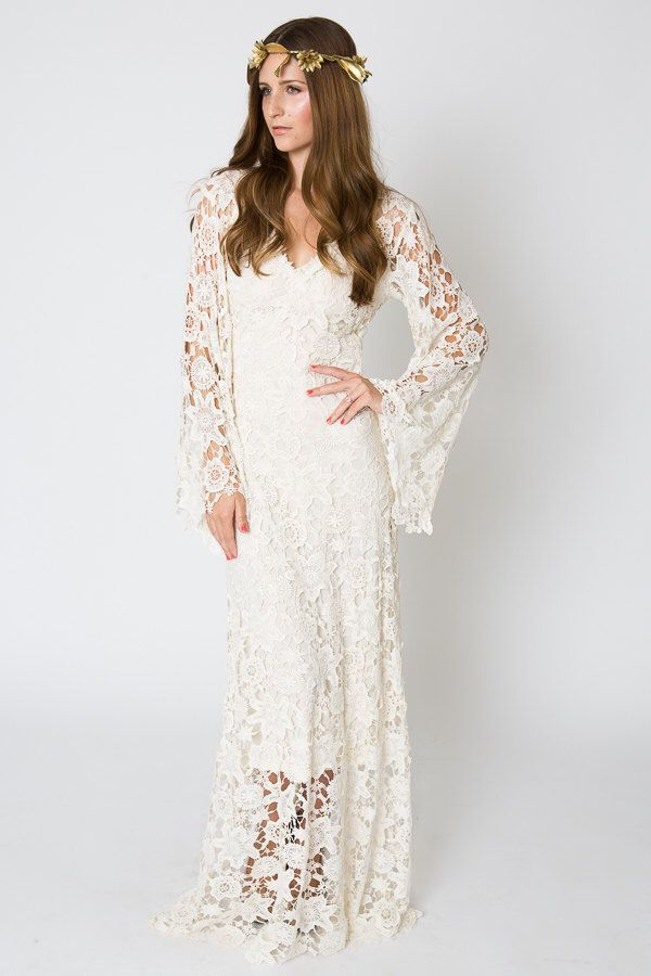 Vintage Inspired Bohemian Wedding Gown Bell Sleeve Lace Crochet Ivory Or White Hippie