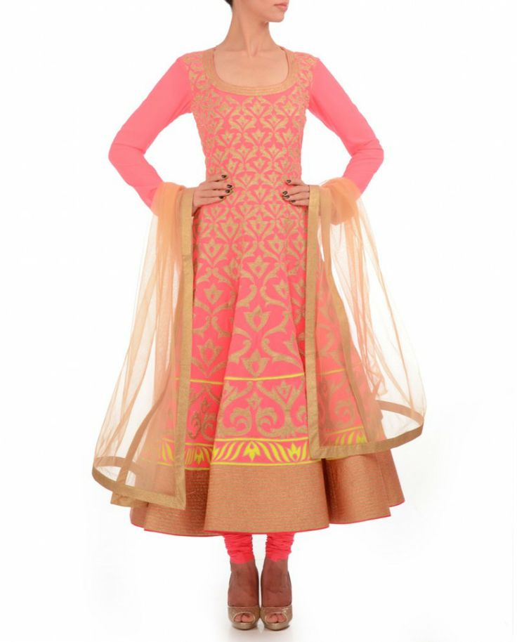 Exclusively.In  Neon Pink Anarkali Suit