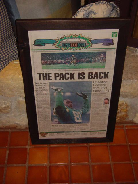 Green Bay Packers 1997 Rare Newspaper Original Framed The Pack Is Back  from $59.99