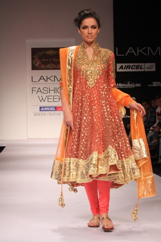 Long Orange & Gold Embellished Chudidar  LakmeFashion Week Winter Festive 2011. Designer: Preeti Kapoor