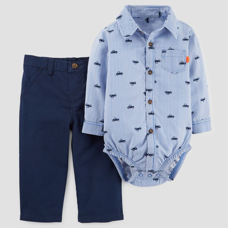 Baby Boys' 2pc Buttondown and Pants Set - Just One You Made by Carter's Blue 18M