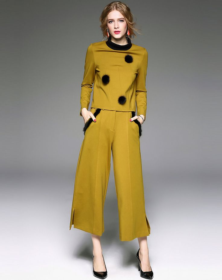 #AdoreWe #VIPme Co-Ords - Qeexi Camel Long Sleeve Top With A Line Pants - AdoreWe.com