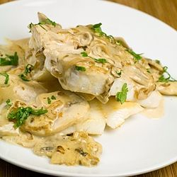 Pan-Fried John Dory with Creamy Mushroom and White Wine Sauce - A fish dish that is easy and quick to prepare, not to mention scrumptious!