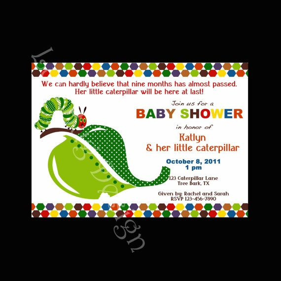 45 best hungry caterpillar baby shower ideas images on pinterest, Baby shower invitations