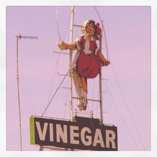 The Skipping Girl Sign or Skipping Girl Vinegar Sign, colloquially known as Little Audrey, is the first animated neon sign in Australia. The sign is located on Victoria Street within the inner Melbourne suburb of Abbotsford.Were i am living haha