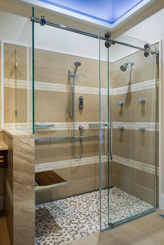 Kinetik rolling door shower enclosure w/ Moen Vertical Spa asian bathroom