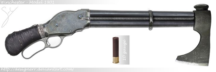 Winchester Mod-1901 10g Axegun. The Model 1887 was the first truly successful repeating shotgun with its lever-action design, a recognizable feature of the Winchester company at the time. However, it was soon realized that the action parts was not strong enough to handle early smokeless powder shotshells, so a redesign resulted in the stronger Winchester Model 1901, only avaiable in 10 gauge during its production time. This 1901 was crudely modified to be used as a battle axe in close…