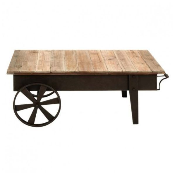 """45"""" Industrial Inspired Distressed Wooden Board Vintage Style Factory Cart Coffee Table, rustic iron rectangular frame, casters and legs. Dimension: 45""""W, 17""""HM"""
