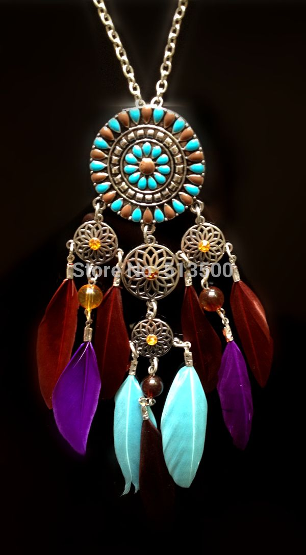 Insieme dei monili necklace+earring indiano a nord dei nativi americani piuma dream catcher collane