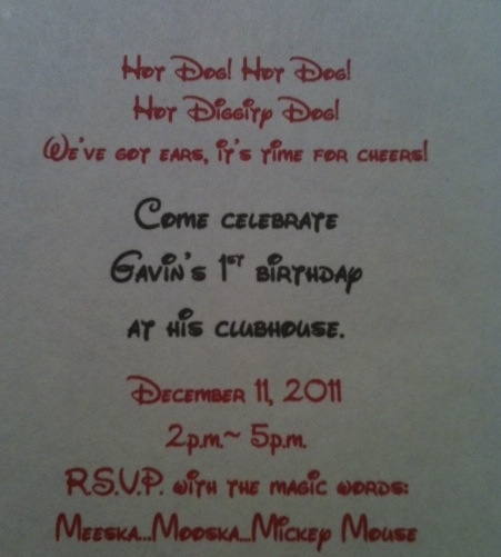 Wording for Mickey Mouse Clubhouse birthday invitation.