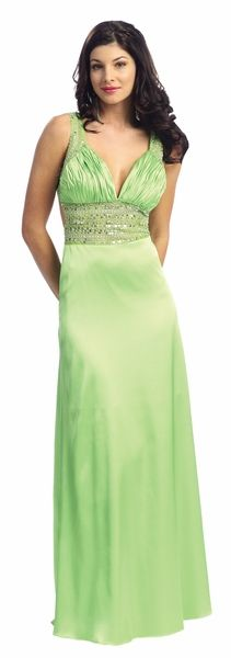 Lime Green Prom Dress Satin Sequin/Bead Waist Open Back Formal Gown $192.99