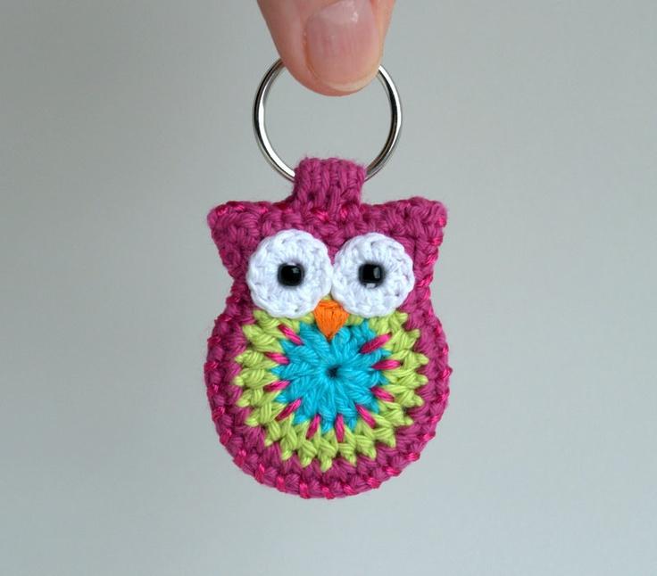 Crochet owl keychain, owl keychain, pink crochet owl. $18.00, via Etsy.