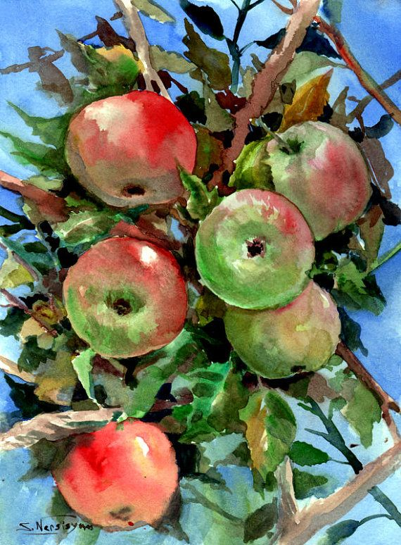 Green Red Apples on Tree, original watercolor painting, 12 X 9 in, fruit painting, kitchen art, $56