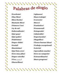 "Praise Words for Spanish Teachers besides ""Bien"" I was just saying I need more words!"