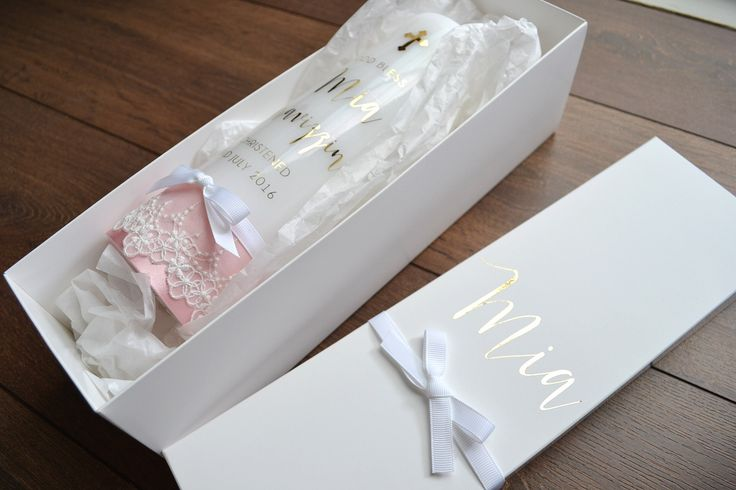 Baptism Candle with Lace Trim