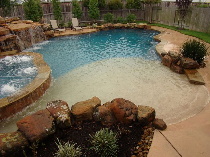 rustic swimming pool beach entry. beautiful ideas. Home Design Ideas