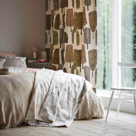 Levande is a collection of Scandi inspire playful and uplifting prints, weaves and wallcoverings. Cedar Fabric - Naively drawn trees and leaves in trend-inspired colour palettes | Buy online