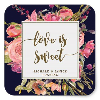 navy floral love is sweet favor sticker wedding - floral style flower flowers stylish diy personalize