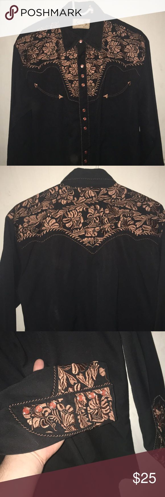 Vintage Western men's shirt Embroidered Scully branded men's western shirt. Needs dry cleaned but in great condition. Scully Shirts Dress Shirts