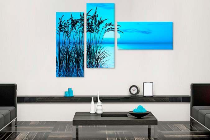 Albastru infinit 9056- Tablouri canvas 3 piese- etablou.ro