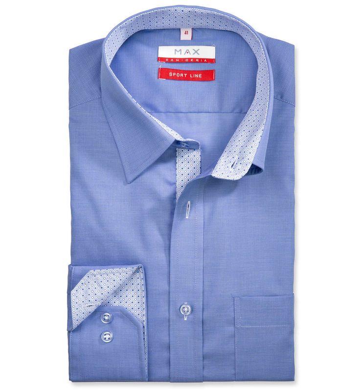 Modern Fit polopriliehavá modrá jednofarebná košeľa Filafil (plátnová tkanina)