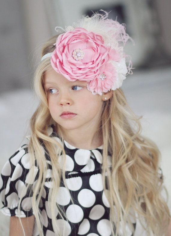Flower Girl Headband, Pink Flower Lace Feathers and Rhinestones