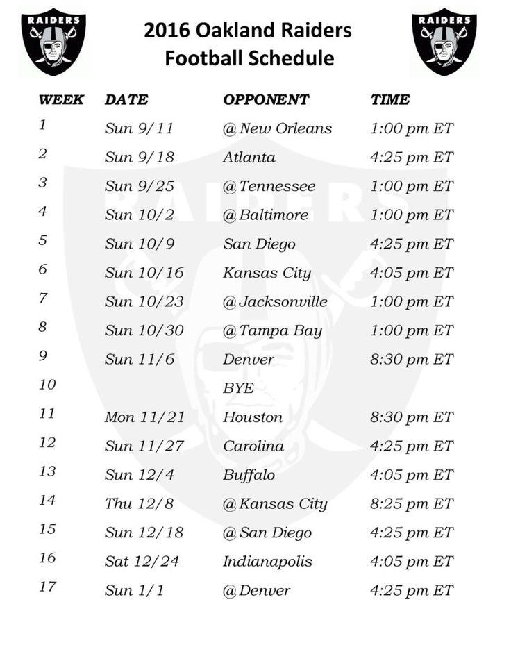 Printable 2016 Oakland Raiders Schedule