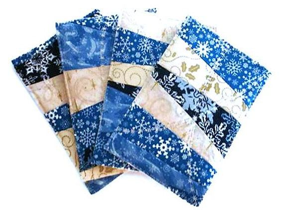 Quilted fabric postcards for Hanukkah or Christmas. Fun and unique!