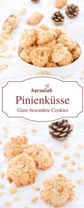 Cookie Rezepte : Pinienküssen sind ganz besondere Kekse. Plätzchen Rezept von herzelieb #rezepte #deutsch #foodblog #foodblogger
