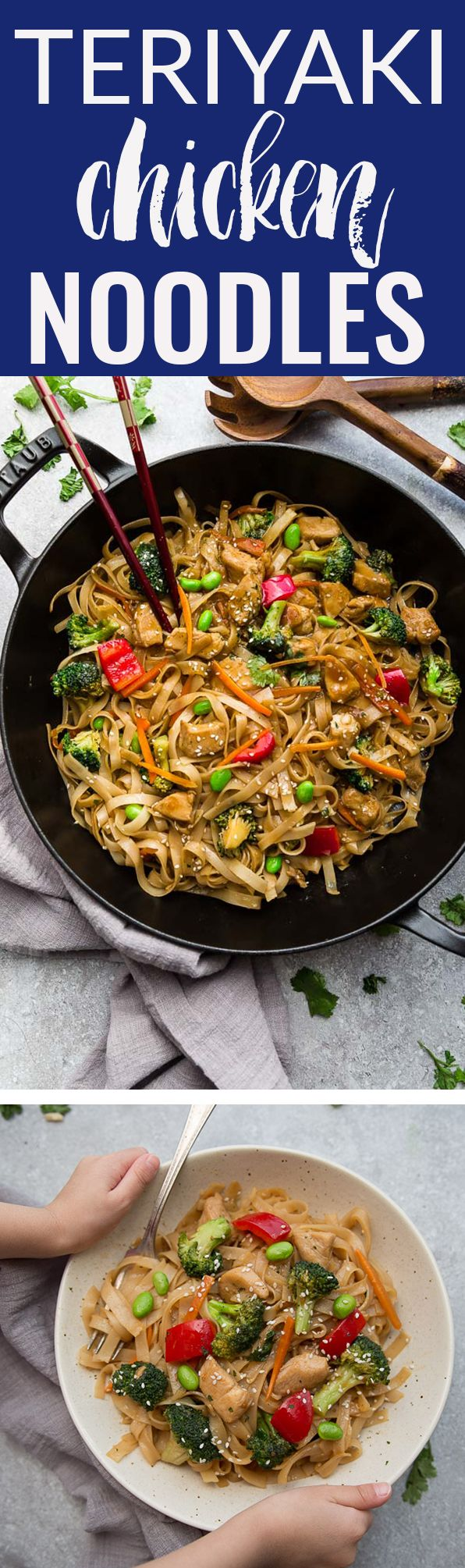 Teriyaki Chicken Noodles – a delicious one pot 30 minute meal perfect to curb those takeout cravings. Made with chicken, broccoli, edamame beans, carrots, gluten free rice noodles and the best sweet and savory Asian-inspired sauce. #teriyaki #onepot #chicken #noodles #asianfood #dinner #takeoutfakeout