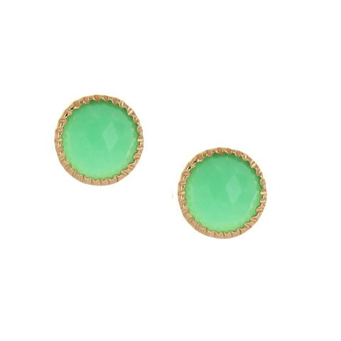 MINI ACCEPT STUD EARRINGS - CHRYSOPRASE & GOLD | Buy So Pretty Jewelry Online & In Stores